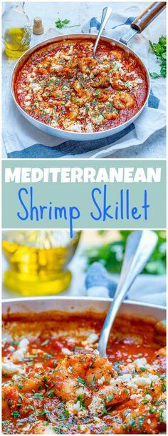Clean eating diet Mediterranean Shrimp Skillet