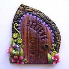 Big Gem Believe Fairy Door, Miniature Pixie Portal , Home and Garden Decor, Polymer Clay Door, Tooth Fairy Entrance