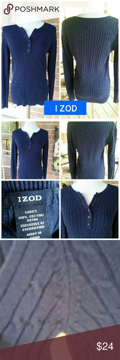 IZOD Navy Sweater Size Small by IZOD...Half buttons up front....very minor pilling...see pics...VERY PRETTY! See pics for details and material info Izod Sweaters