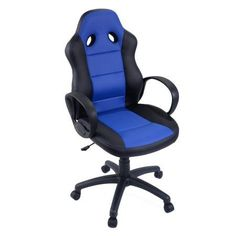 Goplus High Back Race Car Style Bucket Seat Office Desk Chair Gaming Chair (Blue)