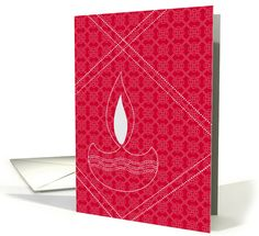 Red and white Diwali card with Diwali lamp card
