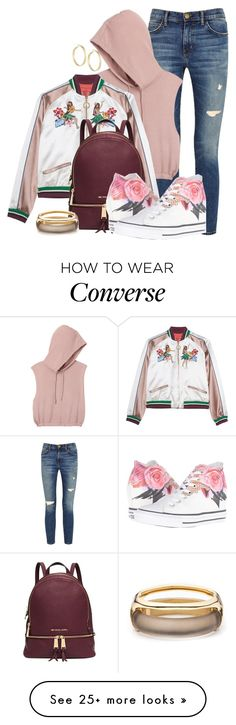 """BOMBER by DaNewMeh"" by thchosn on Polyvore featuring Current/Elliott, RVCA, Michael Kors, Converse, Panacea and Alexis Bittar"