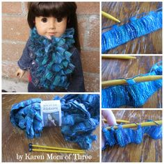 Knit Your Dolls A Scarf Of Ruffles With Red Heart Boutique Ribbons Yarn In Under 1 Hour! American Doll Clothes, Ag Doll Clothes, Crochet Doll Clothes, Doll Clothes Patterns, Knitted Doll Patterns, Knitted Dolls, Sewing Patterns, Sashay Yarn Projects, Crochet Ruffle Scarf