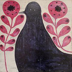 Black Bird In Flowers