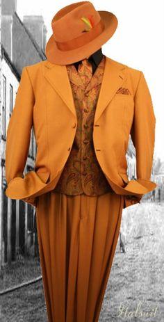 ORANGE! Mens Dress Outfits, Dress Suits For Men, Suit And Tie, Men Dress, Dress Hats, Mens Fashion Suits, Mens Suits, Men's Fashion, Fasion