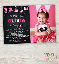 MINNIE MOUSE INVITATION Minnie Mouse Card by PixelPerfectShoppe