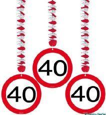 Spiralen Girlande 3 St._. Verkehrsschild Zahl 40 Geburtstag Rotorspiralen
