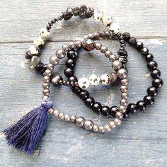 Chakra Handmade Mala Bead Bracelets  Hematite by arkaedesigns