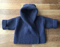 Knitting Pattern for Easy Baby Hooded Wrap Cardigan - Quick and easy hoodie in garter stitch in 3 sizes to fit chest: Designed by Audrey Wilson. Pictured project by parksidepurler by altheaA quick and very easy knitting pattern, perfect for the new t