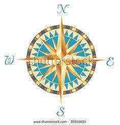 Wind Rose, Compass Rose, Symbols, Glyphs, Icons