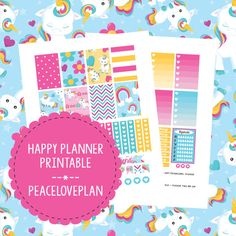 Unicorn MAMBI Happy Planner Printable - Weekly Set, Happy Planner Stickers, PDF Instant Download