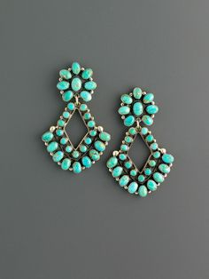 Rare old Armenian Turquoise cabochons gives this pair of earrings that old time Southwestern Zuni silverwork look.