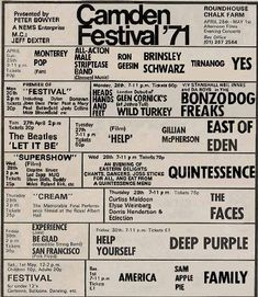 The camden festival yes, East of Eden, family, the faces, deep purple Hippie Posters, Rock Posters, Band Posters, Concert Posters, Music Posters, Gig Poster, Retro Posters, Faces Band, Grateful Dead Music