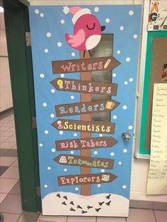 Winter classroom door - January, snow, bird, We are...
