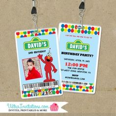 Elmo is here! You can choose this vip pass an invite or as a favor. The sesame street elmo is favorite among toddlers! Custom made to order Unique Invitations, Invites, Elmo Birthday Invitations, Vip Pass, Ticket Invitation, Birthday Photos, Backstage, Street, Anniversary Pictures