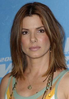 Sandra Bullock Medium Straight Cut - Sandra Bullock Shoulder Length Hairstyles - StyleBistro