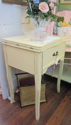 Hand Painted Shabby Table Desk Vintage Sewing by rosesnmygarden