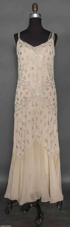 Rhinestone Trimmed White Gown, 1930s