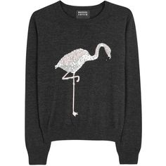 Markus Lupfer Grace Flamingo Merino Wool Jumper - Size S (£280) ❤ liked on Polyvore featuring tops, sweaters, merino top, intarsia sweater, merino wool tops, sequin sweater and gray sequin sweater