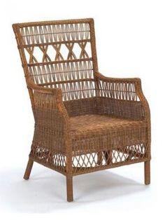 Cottage Wicker Furniture, Nantucket Wicker Arbor Chair, Acorn