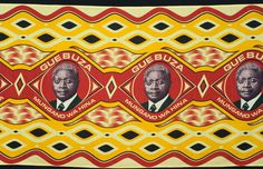 Africa | Commemorative cloth from Mozambique; depicting Armando Emilio Guebuza, President of Mozambique (elected 2004, and reelected 2009).  The text under his portrait refers to unity. | Produced prior to 2010.  Printed cotton.