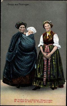 Ansichtskarte / Postkarte Gruß aus Thüringen, Frauen in Landestrachten, Kleinkind