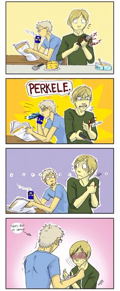(Perkele means Devil in Finnish so Finny's basically dropping the bomb in front of his waifu XD)