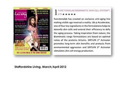 """Staffordshire Living, March/April 2012: """"Functionalab has created an exclusive anti-aging line making visible age reversal a reality."""""""