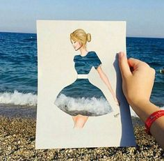 Funny pictures about Ocean Dress. Oh, and cool pics about Ocean Dress. Also, Ocean Dress photos. Creative Photography, Art Photography, Stunning Photography, Illustration Mode, Illustration Fashion, Funny Art, Cool Drawings, Pencil Drawings, Art Sketches