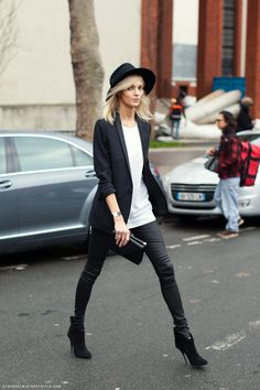 Panelled Blazer + Curve Tank + Wet-look leggings + Floppy Fedora + Clutch Bag + Super High Boots - Add a Classic Men Watch & a Metallic Tubular Ring