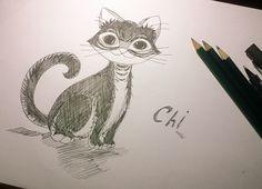 Inktober Day1: Swift (veloz) Un retrato de mi gata Chii.  #Inktober #inktober2017 #inktober2017day1 #Swift #illustration #art #ilustracion