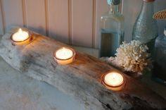 Three Votive Driftwood Candleholder by ByTheSeashoreDecor on Etsy