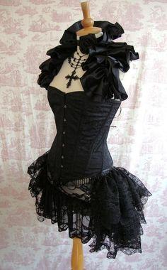 Plus Size Lace Burlesque Bustle Skirt Gothic by GothicBurlesque