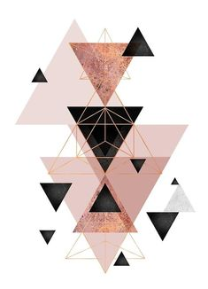 """Geometric Triangles in Blush and Rose Gold"" Canvas Print by UrbanEpiphany Rose Gold Wallpaper, Black Wallpaper Iphone, Home Wallpaper, Wallpaper Wallpapers, Cute Patterns Wallpaper, Aesthetic Pastel Wallpaper, Toile Triangle, Tapete Gold, Gold Canvas"