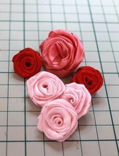 Un tuto pour faire des roses en ruban.+ une vidéo                                                                                                                                                                                 Plus