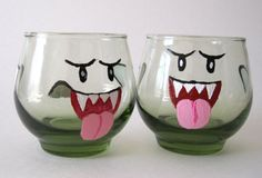 Boo Drinking Glasses  Set of Two Mario by BasementInvaders on Etsy, $40.50