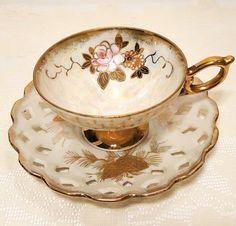 Vintage Japan Pearlescent Gold Lusterware Tea Cup & Saucer