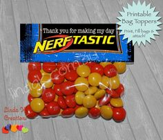 Nerf Party Favor Bag Toppers INSTANT DOWNLOAD by LindaKCreations