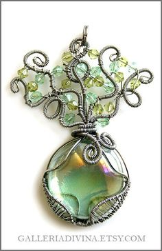 Wirewrapped silver green tree pendant  Telperion by AntonijaGospic, $28.00