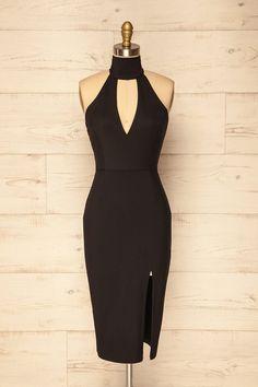 Black plunging neckline fitted midi dress - Robe mi-longue ajustée noire au décolleté plongeant