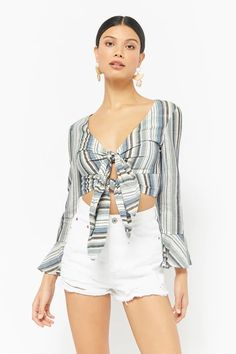 Product Name:Striped Tie-Front Bell-Sleeve Crop Top, Category:CLEARANCE_ZERO, Price:38
