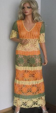 Kolorowa sukienkaręcznie robiona by ALDOARThandmade on Etsy