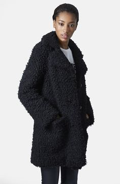 Topshop Faux Fur Car Coat available at #Nordstrom
