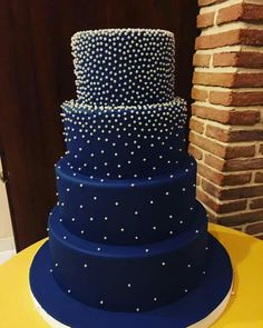 Royal Blue Wedding Cakes, Elegant Wedding Cakes, Beautiful Wedding Cakes, Wedding Cake Designs, Beautiful Cakes, Amazing Cakes, Bolo Paris, Quince Cakes, Galaxy Cake