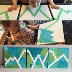 Canvas Painting DIY - easy & fun craft for toddlers and kids! All you need is paint and painters tape!