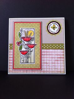 Hobby Art stamps-Bordered Poppies, circular Happy Birthday. Inky Doodles stamp-Fabulous fabrics.