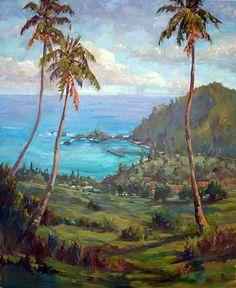 "Signature Artist: Jan Bushart- Painting is called ""Overlooking Hana"""