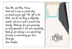 Thank You Cards Wedding Wording Money  Thank You Notes