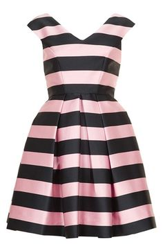 Pink & black striped party dress? Yes, please!
