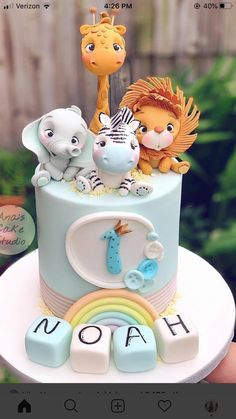 Safari Birthday Cakes, Jungle Theme Cakes, Baby First Birthday Cake, Safari Cakes, Deco Baby Shower, Baby Shower Cakes, Baby Boy Cakes, Girl Cakes, Bolo Original